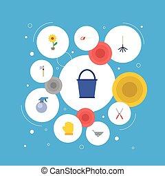 plat, ensemble, fleur, latex, elements., icônes, pot, seau, inclut, symboles, aussi, vecteur, brouette, ciseaux, objects., agriculture, autre