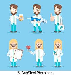 plat, ensemble, fonctionnement, docteur, monde médical, hommes, kit., tools., conception, médecins, medicine., documents., syringe., femmes