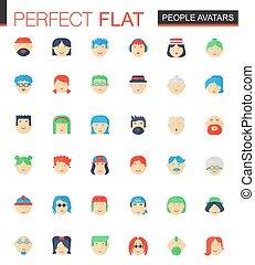 plat, ensemble, gens, avatars, icons., vecteur