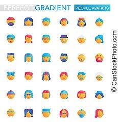 plat, ensemble, gens, gradient, avatars, icons., vecteur, branché