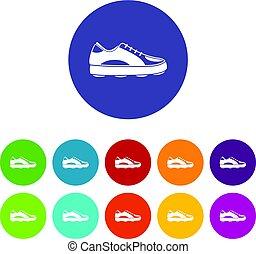 plat, ensemble, golf, icônes, vecteur, chaussure
