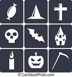 plat, ensemble, halloween, icons., 1, vecteur