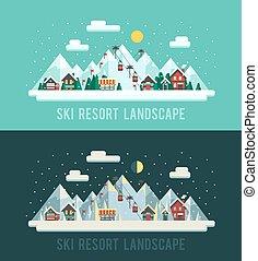 plat, ensemble, hiver, landscapes., style:, resort., illustration, sports, recours, vecteur, nuit, montagnes., jour, montagnes, ski