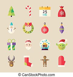 plat, ensemble, hiver, objets, joyeux noël