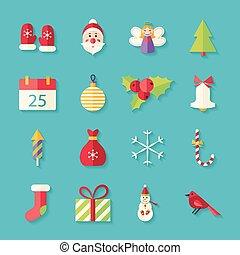 plat, ensemble, hiver, objets, joyeux, ombre, noël