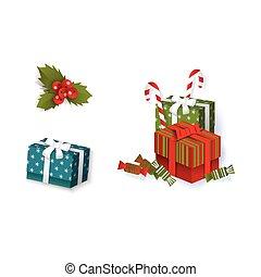 plat, ensemble, hiver, objets, symboles, vecteur, vacances