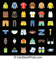 plat, ensemble, icône, accessoires, 2, mâle, vêtements