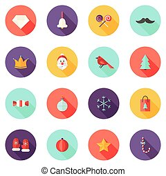 plat, ensemble, icônes, 1, cercle, noël