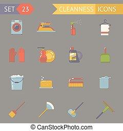 plat, ensemble, icônes, accessoires ménage, illustration,...