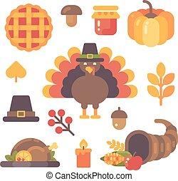 plat, ensemble, icônes, articles, thanksgiving, automne, arrière-plan., divers, blanc