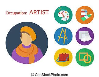 plat, ensemble, icônes, artiste, vecteur, conception