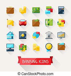 plat, ensemble, icônes, banque, conception, style.