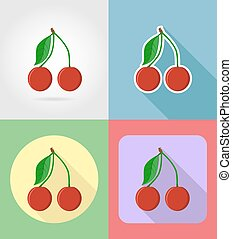 plat, ensemble, icônes, cerise, illustration, vecteur, fruits, ombre