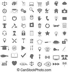 plat, ensemble, icônes