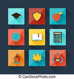 plat, ensemble, icônes, conception, education, style.