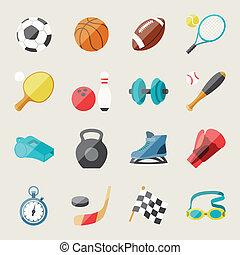 plat, ensemble, icônes, conception, sport, style.