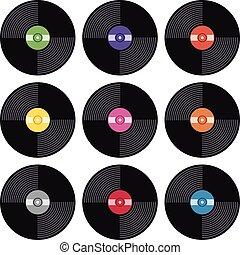 plat, ensemble, icônes, enregistrement, vecteur, musique, vinyle, retro