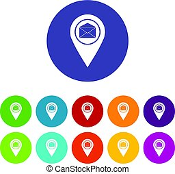 plat, ensemble, icônes, enveloppe, signe, emplacement, marqueur