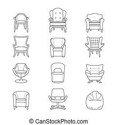 plat, ensemble, icônes, fauteuil, isolé, vecteur, ligne