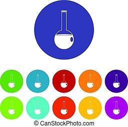 plat, ensemble, icônes, flacon, chimique, vecteur