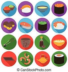 plat, ensemble, icônes, grand, symbole, sushi, collection, vecteur, illustration, style., stockage