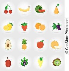 plat, ensemble, icônes, illustration, vecteur, fruits, ombre