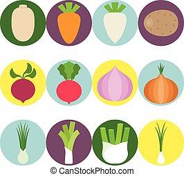 plat, ensemble, icônes, légumes, 3, vecteur