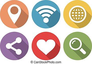 plat, ensemble, icônes, long, conception, internet, ombre