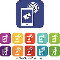 plat, ensemble, icônes, mobile, signe, courrier