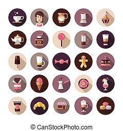 plat, ensemble, icônes, moderne, café-boutique, boulangerie, conception, café