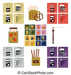 plat, ensemble, icônes, nourriture, long, fait maison, ombre