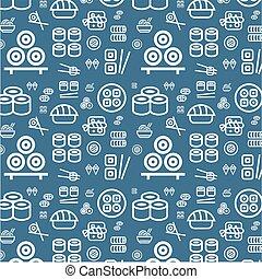 plat, ensemble, icônes, nourriture, modèle, sushi, japonaise, texture, seamless, arrière-plan., vecteur