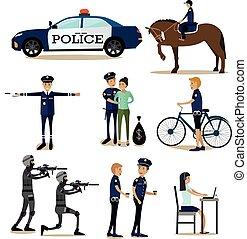 plat, ensemble, icônes, policier, profession, vecteur, caractères