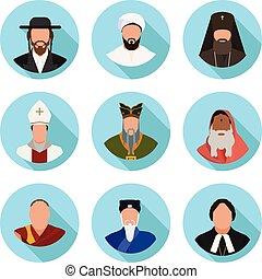 plat, ensemble, icônes, représentants, denominations, mondiale, religieux