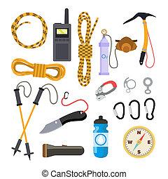 plat, ensemble, icônes, trekking, isolé, illustration, accessories., équipement, escalade, dessin animé