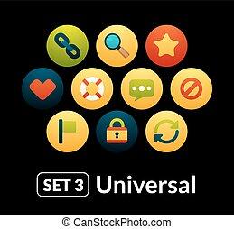 plat, ensemble, icônes, universel, -, collection, 3, vecteur
