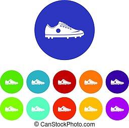 plat, ensemble, icônes, vecteur, chaussure, football