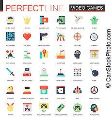 plat, ensemble, icônes, vecteur, jeux visuels
