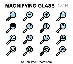 plat, ensemble, icônes, verre, vecteur, ligne, magnifier