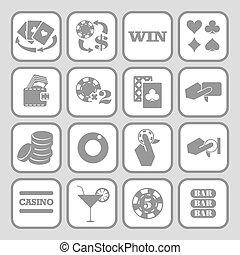 plat, ensemble, icons., casino