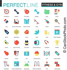 plat, ensemble, icons., vecteur, fitness, sport