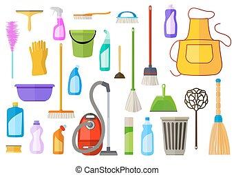 plat, ensemble, illustration., housecleaning, grand, vecteur, supplies., nettoyage, outils