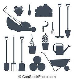 plat, ensemble, illustration., silhouette-vector, ferme, instruments, isolé, collection, équipement, noir, arrière-plan., blanc, agriculture, outils, jardin, icône