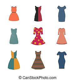 plat, ensemble, illustration., vecteur, femme, robes, style