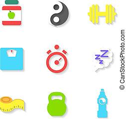 plat, ensemble, illustration, vecteur, icons., fitness
