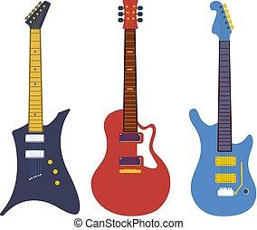 plat, ensemble, instruments ficelle, rocher, vendange, basse, vecteur, guitares, électrique