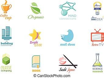 plat, ensemble, isolé, conception, logo, icône