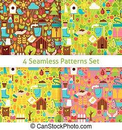 plat, ensemble, jardin, printemps, seamless, quatre, motifs
