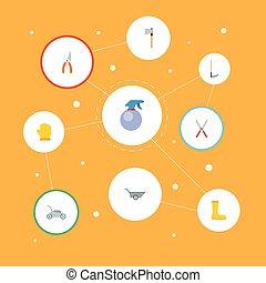 plat, ensemble, jardinage, elements., latex, icônes, gants, pruner, bottes, inclut, caoutchouc, aussi, vecteur, brouette, symboles, hache, objects., autre