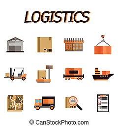 plat, ensemble, logistique, icône